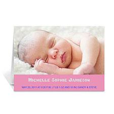 淡粉色简约款宝宝纪念卡 个性贺卡