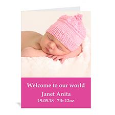 粉红色简约款宝宝纪念卡 个性贺卡