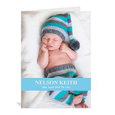 淡蓝色随心款宝宝纪念卡 个性贺卡