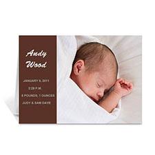 棕褐色时尚款宝宝纪念卡 个性贺卡