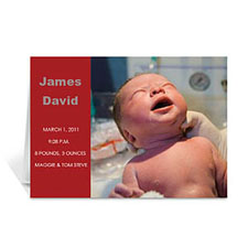 经典红色时尚款宝宝纪念卡 个性贺卡