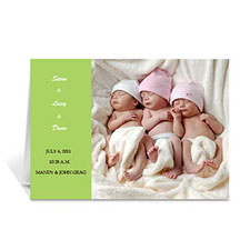 浅绿色时尚款宝宝纪念卡 个性贺卡