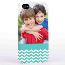 Personalized Aqua Chevron Pattern iPhone 4 Hard Case Cover