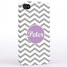 Personalized Silver Chevron iPhone 4 Hard Case Cover