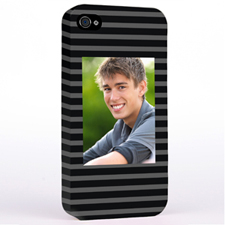 Personalized Grey Stripes Pattern Photo iPhone 4 Hard Case Cover