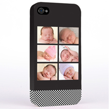 Personalized B&W Stripes Six Collage iPhone 4 Hard Case Cover