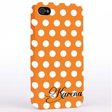 Personalized Orange Polka Dots Background iPhone 4 Hard Case Cover