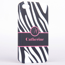 Personalized Zebra Pattern Monogrammedmed iPhone 4 Hard Case Cover