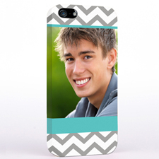 Personalized Grey & Lime Chevron Photo iPhone 5 Case