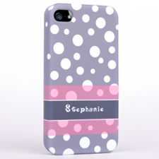 Personalized Grey Polka Dots Pattern iPhone 5 iPhone Case