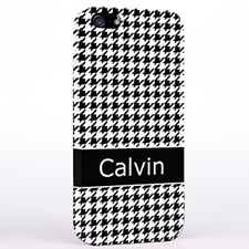 Personalized Black Hounds Tooth Monogrammedmed iPhone Case