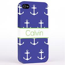 海军蓝和白色锚 哑光表面定制 iPhone手机壳