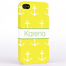黄色和白色锚 哑光表面定制 iPhone手机壳