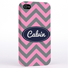 Personalized Grey Pink Chevron Hard Case Cover