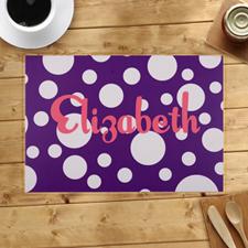 定制带紫色波点设计餐垫