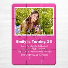 粉红色 生日主题 5×7英寸小号照片拼图