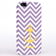 Personalized Yellow Anchor Lavender Chevron iPhone Case