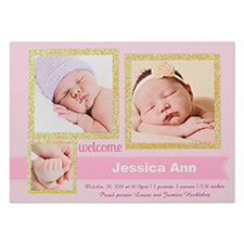 定制个性化宝宝出生派对庆祝卡,闪光卡