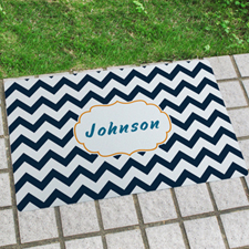 Black White Chevron Personalized Name Door Mat