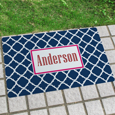Navy Quatrefoil Personalized Name Door Mat