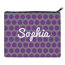 紫灰大圆点化妆包 (8 X 10 英寸)