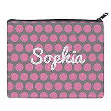 粉红灰大圆点化妆包 (8 X 10 英寸)