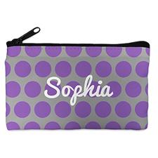 个性化紫灰大圆点化妆包 5X8英寸