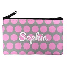 个性化粉红灰大圆点化妆包 5X8英寸