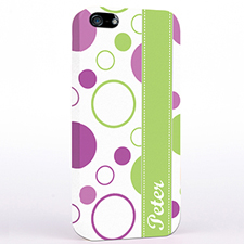 Personalized Lavender Lime Polka Dot iPhone Case