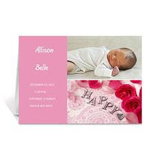 粉色雅致款拼盘宝宝纪念卡 个性贺卡