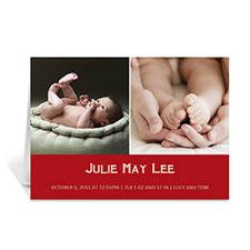 两图拼盘红色简约款宝宝纪念卡 个性贺卡
