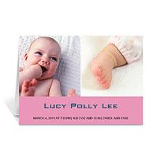 两图拼盘粉色简约款宝宝纪念卡 个性贺卡