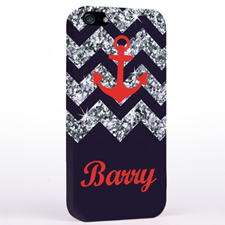 Personalized Grey Glitter Chevron Red Anchor iPhone Case