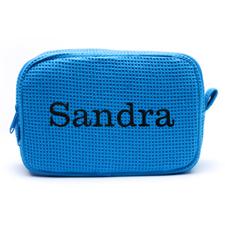 刺绣名字蓝绿色棉华夫格编织化妆包