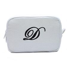 刺绣一个字母棉华夫格化妆包 白色