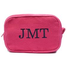 刺绣三个字母棉华夫格化妆包 紫红色