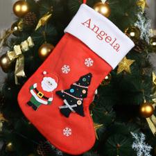 定制可刺绣圣诞树,圣诞老人,雪花的圣诞袜