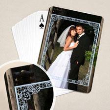 蓝色边框 结婚纪念扑克牌 背面定制