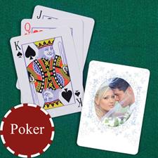 蓝色碎花 结婚纪念扑克牌 背面定制