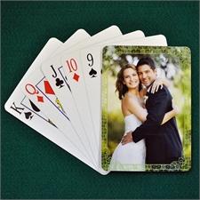 古典绿色 结婚纪念扑克牌 背面定制