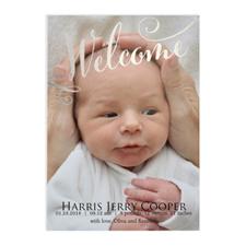 定制宝宝出生照片邀请函,5x7英寸银卡纸