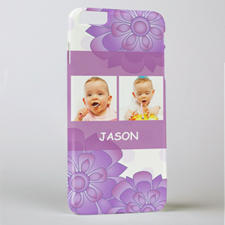 Purple Floral Personalized Photo iPhone 6+ Phone Case