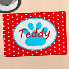 红色圆点个性化动物脚掌餐垫