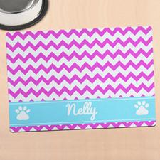 粉红色条纹个性宠物餐垫