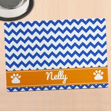 蓝色条纹个性宠物餐垫