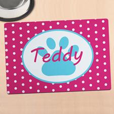 粉红圆点个性化动物脚掌餐垫
