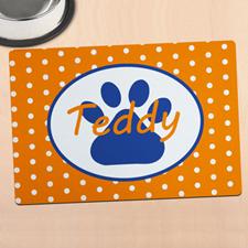 橙色圆点个性化动物脚掌餐垫