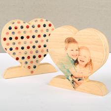 木制心形照片装饰品,单面波点设计