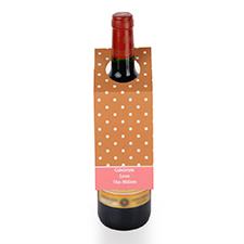 定制棕色波点设计红酒挂牌,6个一套装