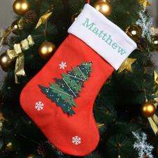 定制刺绣圣诞树的圣诞袜
